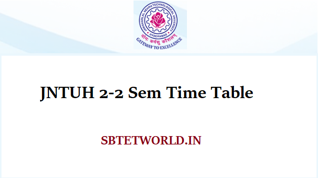 JNTUH 2-2 Sem Time Table