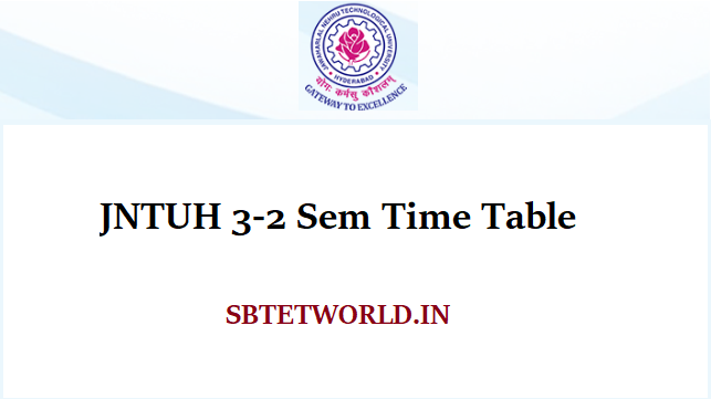 JNTUH 3-2 Sem Time Table