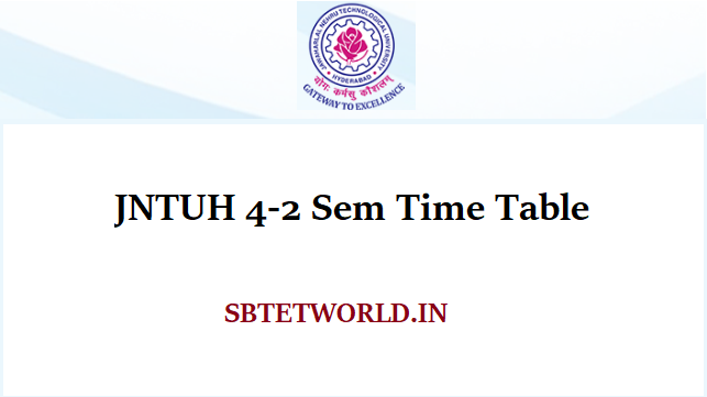 JNTUH 4-2 Sem Time Table